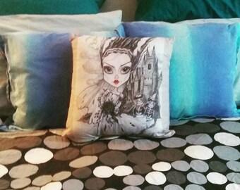 The Bride ,art pillow ,16 x 16 cotton pillow, fantasy art, horror art pillow,Leslie Mehl Art