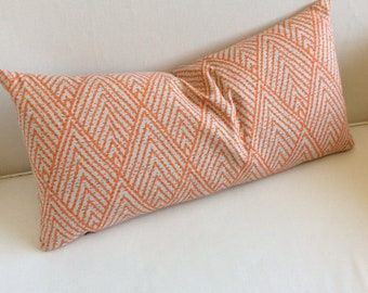 Tangerine on natural designer fabric accent lumbar Bolster Pillow 13x26 insert included