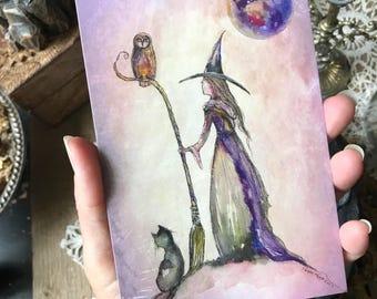 One Art Print 4x6 from my Original Painting Moon Victorian Owl Cat Pumpkin Witch Halloween Gothic Folk Terri Foss