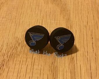 St Louis Blues Logo Puck Earrings
