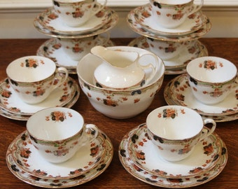 Antique Porcelain Tea Set, Cups, Saucers, Side Plates, Sugar and Creamer. Grafton, English, C.1900.