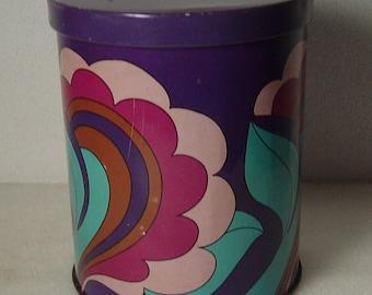 funky vintage 60s/70s Pop Art tin box