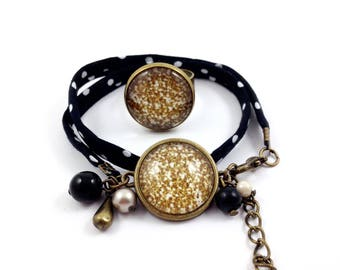 Black bronze set * Cabochon * glitter gold