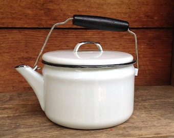 Small Enamel Kettle with Lid and Bailing Handle, Vintage Kettle, White and Black Enamelware, Camping Kettle, Farmhouse Kitchen Decor,
