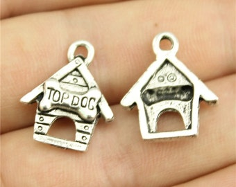 6 Dog House Charms, Antique Silver Tone (1D-188)