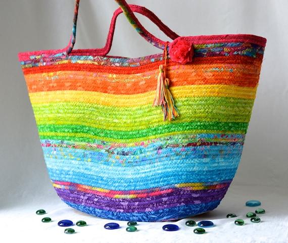Artisan Batik Basket, Handmade Fiber Art Basket,  Rainbow Batik Tote Bag, Laptop Case, Unique Gift Basket, Coiled Moses Basket