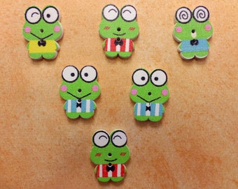 SET of 6 wood buttons: frog multicolor 22mm