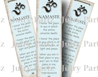Teal NAMASTE BOOKMARK,OM Bookmark, Rectangle Image ,Printable Digital Images, Cards, Gift Tags, Yoga, Meditation