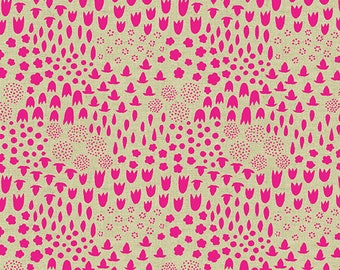 Folk Floral in Neon - Tiger Plant by Sarah Golden - cotton linen fabric