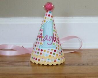 Girl Birthday Hat - pink, aqua, yellow - Free personalization