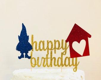 Gnome Happy Birthday Topper/ Gnome Birthday Party/ Fairy Birthday/ Woodland Birthday