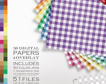 80% OFF SALE Digital Scrapbook Gingham 51 Piece Paper Pack - 50 Colors & Overlay to DIY - Digital Scrapbook Paper Digital Paper Pack