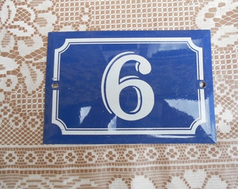 FRENCH VINTAGE 1970's Enamel House Number Plaque 6/9