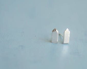 Tiny Triangle Studs, Pencil Point Post Earrings, Sterling Silver, Abstract Minimalist Jewelry, Contemporary Handmade Design, Point Shiny