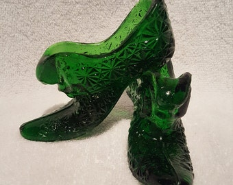 Vintage Fenton Green Glass Daisy Pattern Slipper/Boot/Shoe Pair
