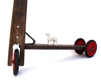 Vintage French Childs wooden scooter ABC Baby Vero Red wheels -Perfect decorating item Nursery, Hall