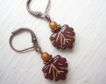 Glass leaf earrings, deep brown leaf, reddish brown, maple leaf drops, Czech glass leaf, Czech glass bead, brown and ochre, Autumn leaf