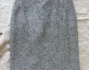 White and black tweed high waisted skirt