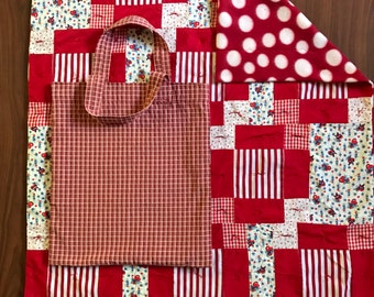 Patchwork Baby Quilt with Tote Bag/Red/Hearts/Polka dot/baby girl/baby shower gift/newborn