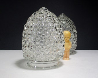 """2 Vintage Clear Glass Bubble Globe Pendant Light Shade Replacement Light Fixture Cover Mid Century Mod Style Acorn Shape with 3.25"""" Fitter"""