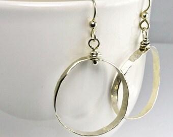 Hoop Sterling Silver earrings, Small Hoops, Sterling Hoops, Hoops, Sterling Earrings, Gift for her, 70's style earrings
