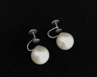 Vintage 1920's Richelieu Screw Back Faux Pearl Earrings Costume Jewelry
