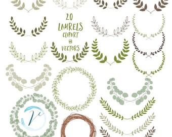 20 Laurels - Hand Drawn Greenery Clipart and Vectors: Digital Clipart Set