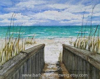 Beach Print, Beach Painting, Beach Wall Art, Coastal Art, Beach Watercolor, Nautical Wall Art, Beach Home Decor, Beach Gift, Seashore Bridge