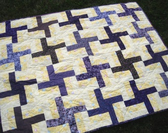 Lap Quilt. Accent Patchwork Quilt. Yellow and Purple Dutch Windmill Quilted Blanket. Couch Throw. Wheelchair Quilt. Handmade. Ready to Ship