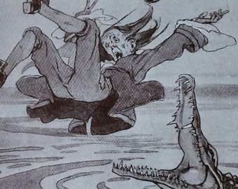 1940's-Book Plate-Alice B Woodward-JMBarrie-Peter Pan-Captain Hook-Crocodile-Neverland-Nursery decor
