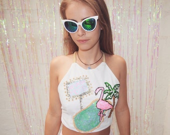 Hand Sequinned Nevada Motel Flamingo Halter Top