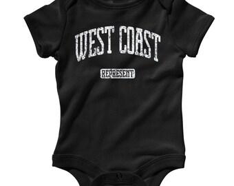 Baby West Coast Represent Romper - Infant One Piece - NB 6m 12m 18m 24m - West Coast Baby, California, Rap Hip-Hop - 3 Colors