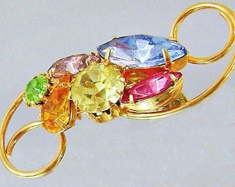 BIGSALE Vintage Pastel Rhinestone Brooch. Pink Gold Yellow Cerulean Blue Peridot Green Amethyst Purple Rhinestone Pin.