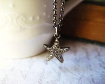 Starfish Necklace, Pave Diamonds, Starfish Pendant, Sterling Silver, Diamond Charm, diamond starfish, Pave Charm, Oxidized Sterling