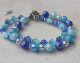 Two Strand Blue Beaded Bracelet