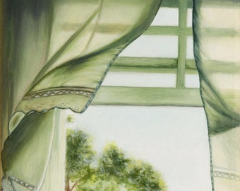 Open Window Curtain Blowing in Fresh Air on a Quiet, Peaceful Spring Summer Morning Oil Painting Print