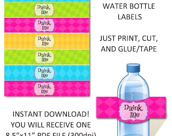 Printable DIY Wonderland Theme Water Bottle Labels - Drink Me