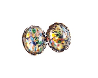 Rainbow Opal Stud Earrings Large Vintage Iridescent Domed Glass Cabochons Hypoallergenic Post Earrings