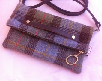 Harris tweed bag clutch, tweed clutch bag, tweed clutch purse, tweed wallet, tweed messenger bag, tweed shoulder bag, tweed evening bag