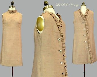 60s Ruffled Back Dress S M Vintage Silk Mini Rhinestone Back Buttons Detail
