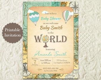 Hot Air Balloon Boy Baby Shower Invitation, Around The World Travel Theme Baby Shower Invitation, Vintage Map Baby Shower Invitation