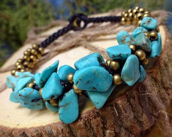 Cluster Beads Turquoise Stone Toggle Bracelet