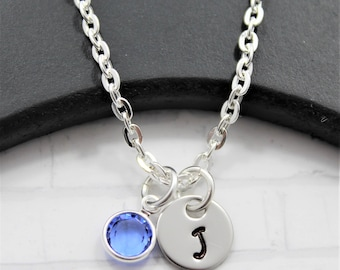 Personalized Initial Necklace - Little Girl Initial Necklace - Silver Initial Necklace - Handstamped Initial - Initial Jewelry