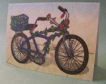 5 x 7 Notecard - A004 BLUE BICYCLE - bicycle card - bike card - bicycle art - bon voyage card - farewell card - cycling art - illustration