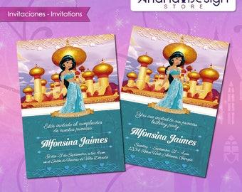 Printable Jasmine Birthday Invitations ~ Moana birthday invitation printable file or printed invitations