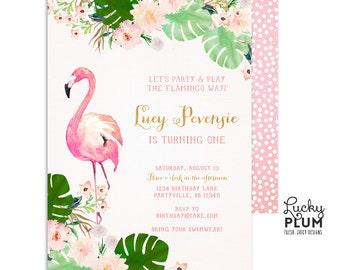 Flamingo Birthday Invitation / Luau Birthday Invitation / Tropical Birthday Invitation / First Birthday Invitation / Floral Invitation FG01