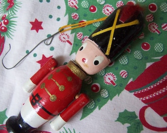 cute wooden soldier with moving arms ornament
