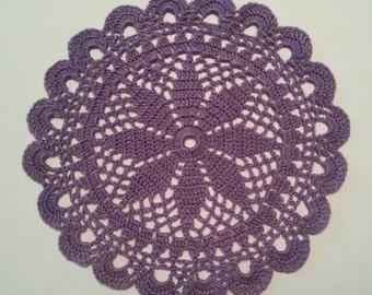 D-35(1)  LILAC Doily MANDALA 23 cm  lilac Crochet Round Doily Lace Doily Large crochet doily