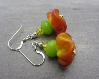 Lampwork Earrings Orange Yellow and Lime Green Earrings Glass Bead Earrings Dangle Drop Earrings Ruffle Lampwork Bead SRAJD USA Handmade