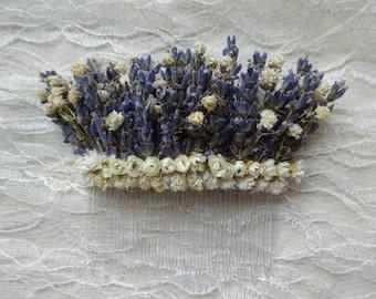 Stunning large Lavender & Gypsophilia Dried Flower Hair Comb- Handmade, Bridal, Wedding, Rustic, Natural hair piece